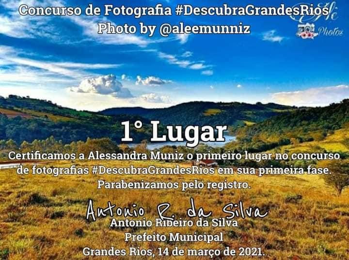 Alessandra Muniz foi a vencedora do concurso de fotografia em Grandes Rios
