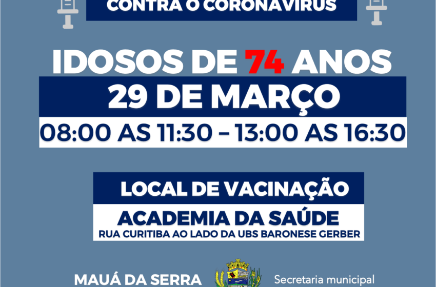 Mauá da Serra comunica horários de vacinação