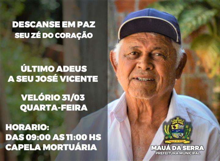 Falecimento de José Vicente Lira em Mauá da Serra