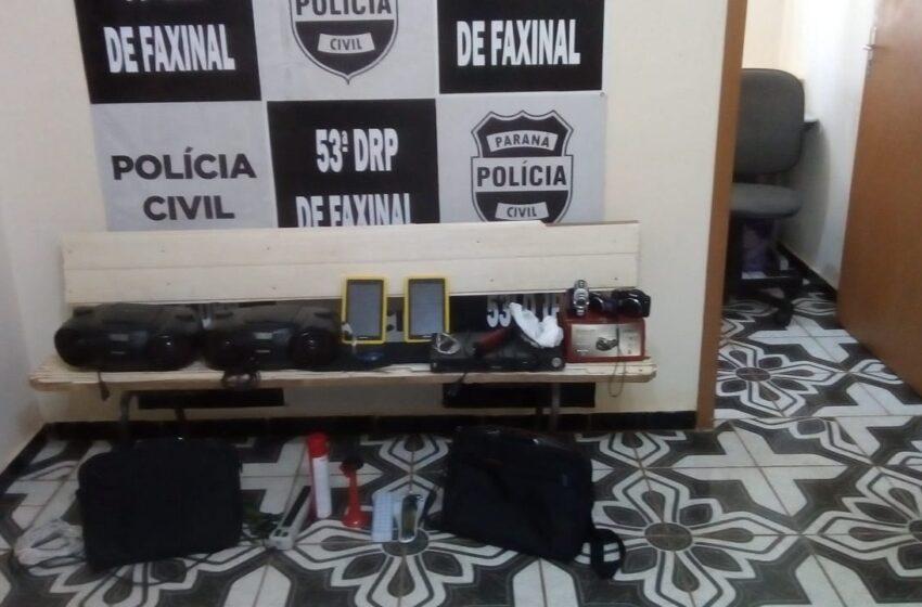 Polícia Civil de Faxinal recupera objetos furtados em Colégio