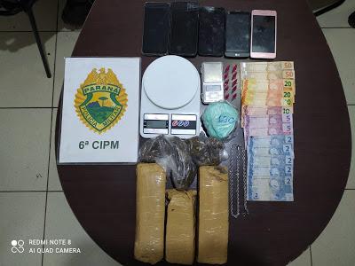 Três suspeitos são presos e um menor apreendido por tráfico em Ivaiporã
