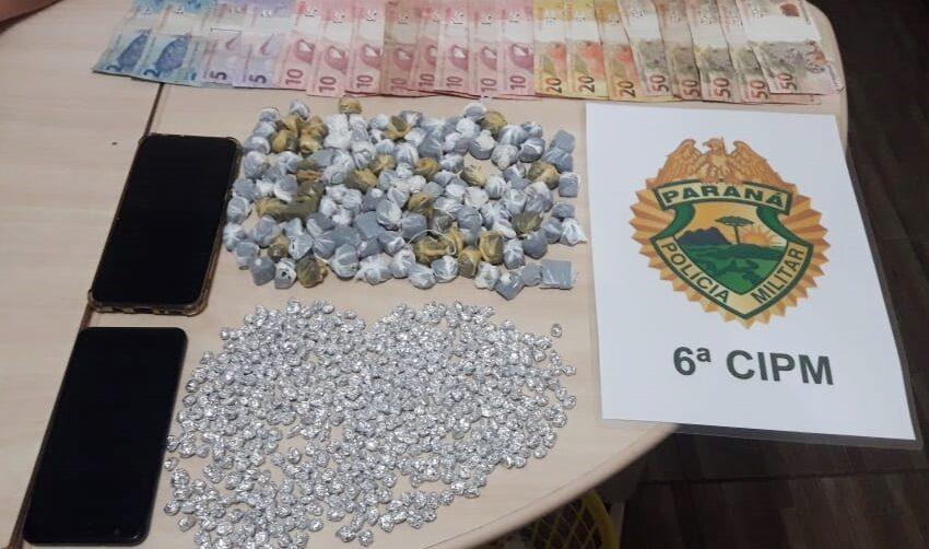 Em Jardim Alegre, PM apreende 452 pedras de crack e 120 buchas de maconha