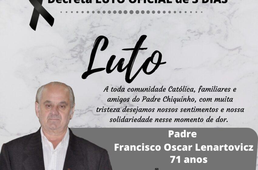 Prefeitura de Faxinal decreta luto oficial de três dias pela morte de padre Francisco Oscar Lenartovicz