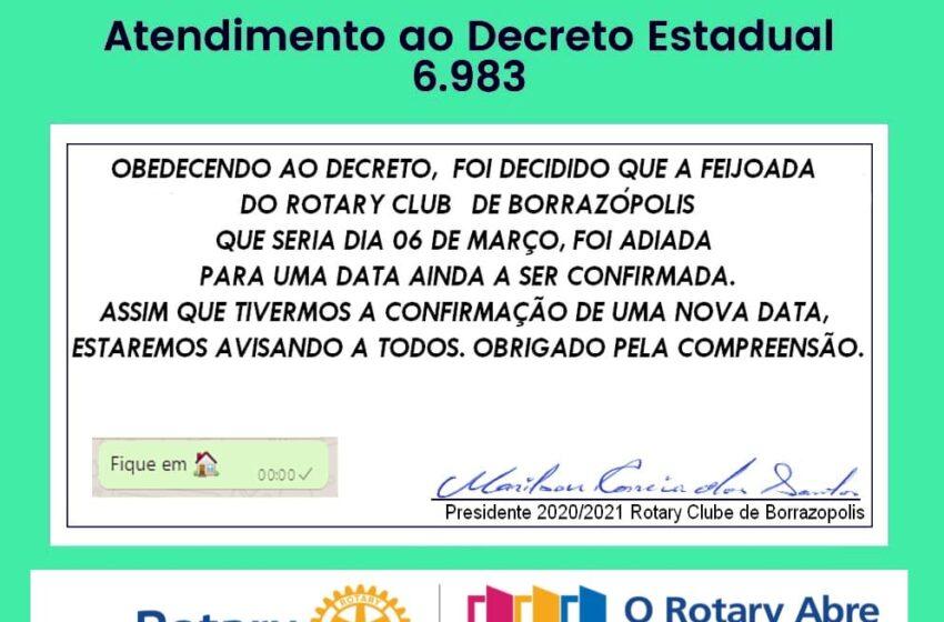 7° Feijoada do Rotary Club de Borrazópolis foi adiado; Vejam os detalhes