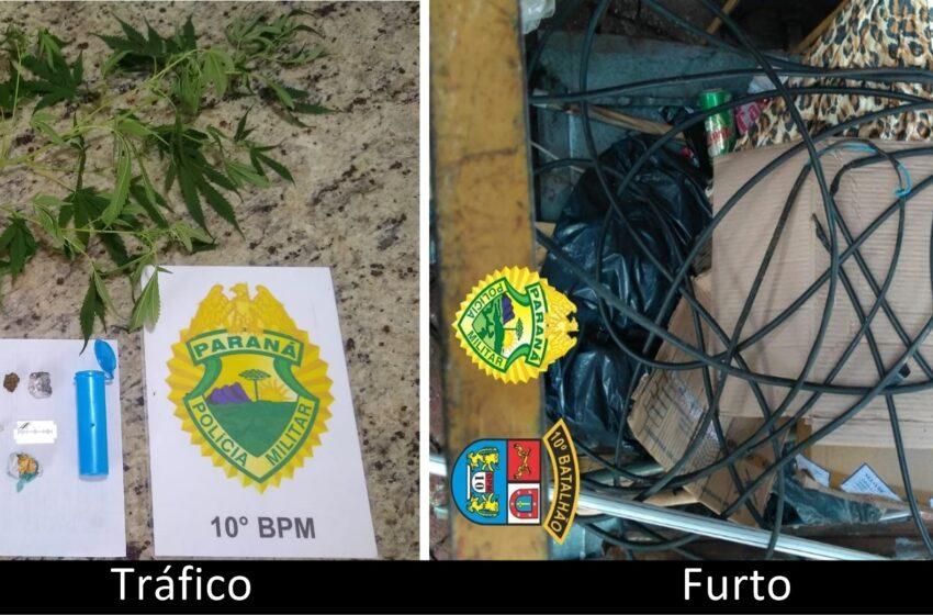 PM de Apucarana registra tráfico no Santa Helena e furto na Munhoz da Rocha