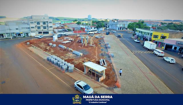 Praça da rodoviária de Mauá da Serra está com 50% da obra concluída