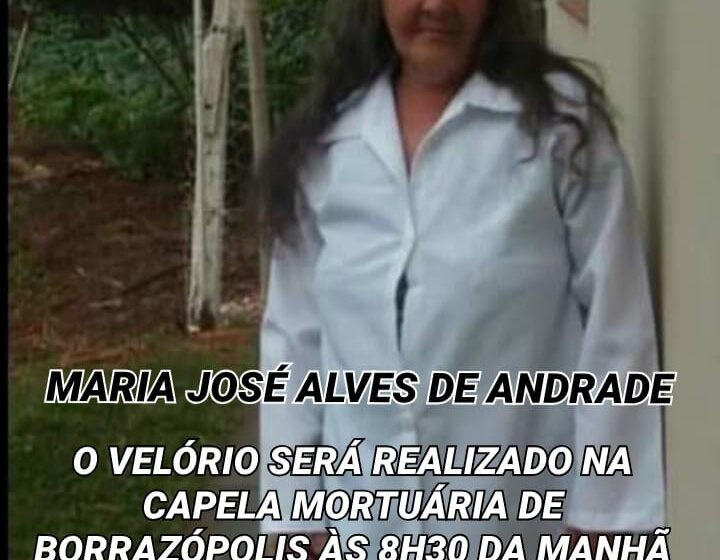 Falecimento de Maria José Alves de Andrade, moradora de Borrazópolis