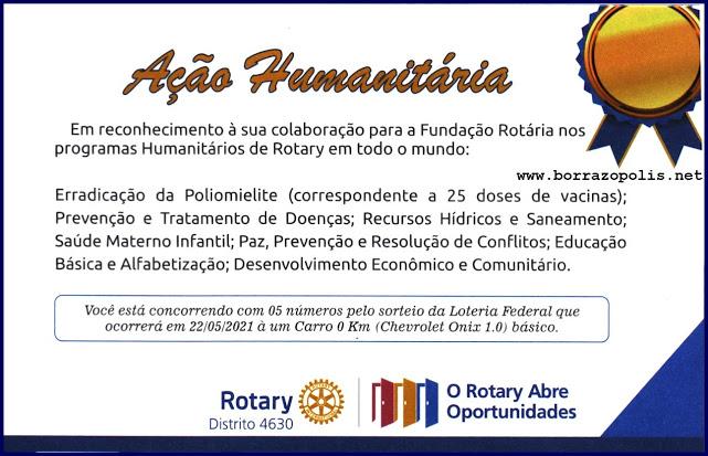 Rotary Club de Borrazópolis através do Distrito 4630 promove rifa de carro zero km