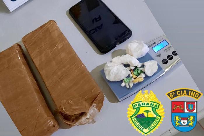 Em Lidianópolis, PM apreendeu drogas que seriam arremessadas na cadeia de Ivaiporã