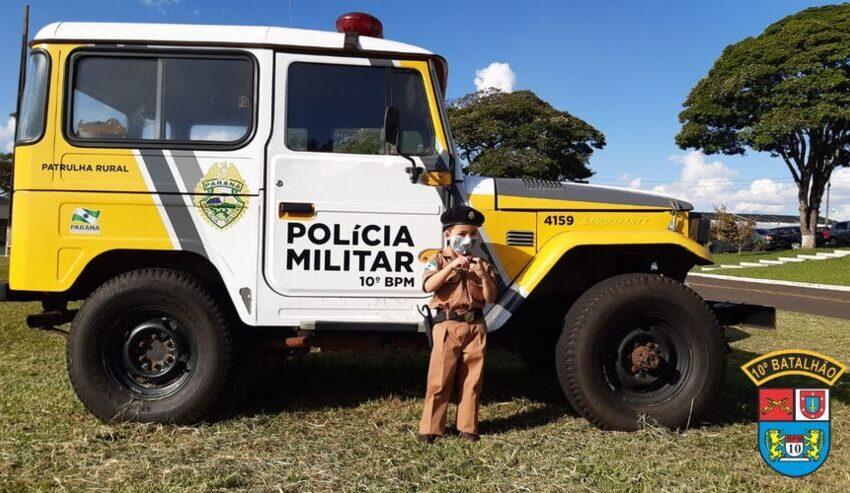 PM participa de aniversário de menino que sonha ser policial em Apucarana