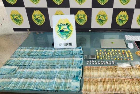 PM prende suspeito de tráfico e a mãe dele e apreende R$ 30 mil em Maringá