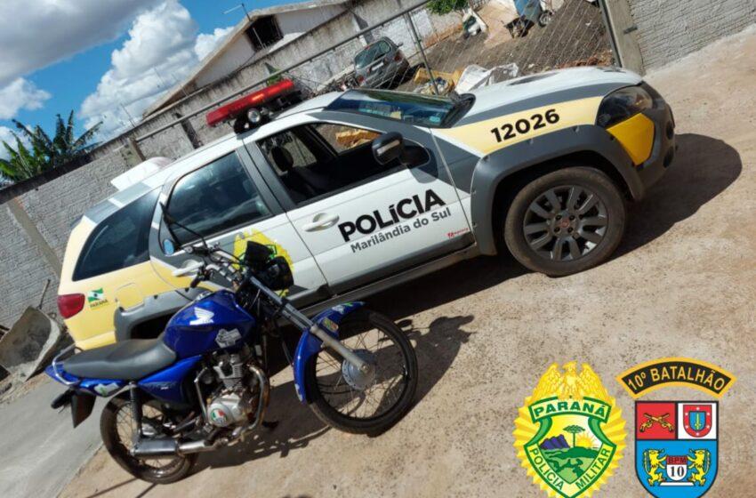 Moto usada em diversas infrações de trânsito foi apreendida em Marilândia