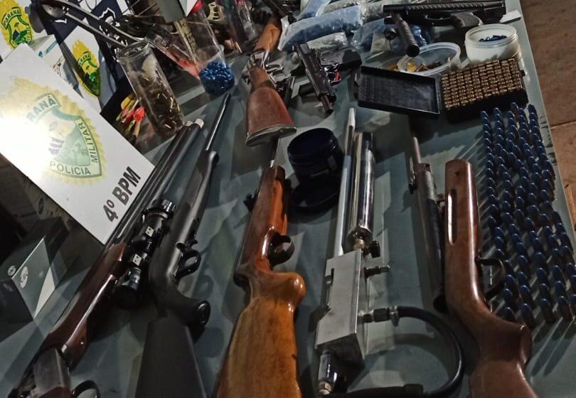 Arsenal de armas e mais de 700 munições é apreendido pela PM em Maringá