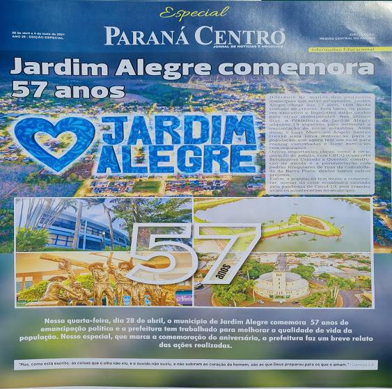 JARDIM ALEGRE – Município comemora 57 anos de emancipação política
