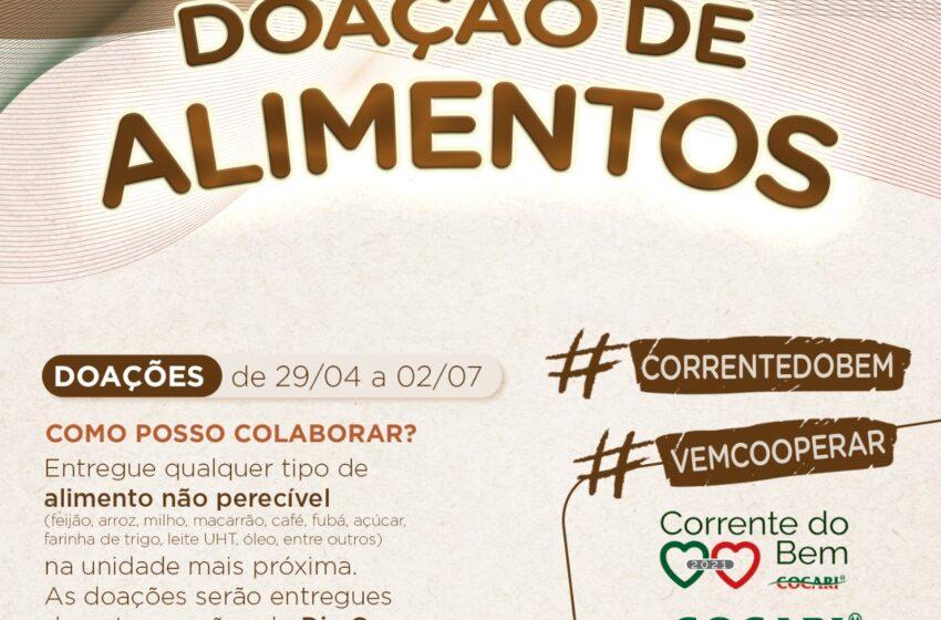 COCARI: Cooperativa inicia segunda fase da Campanha Corrente do Bem 2021 com arrecadação de alimentos