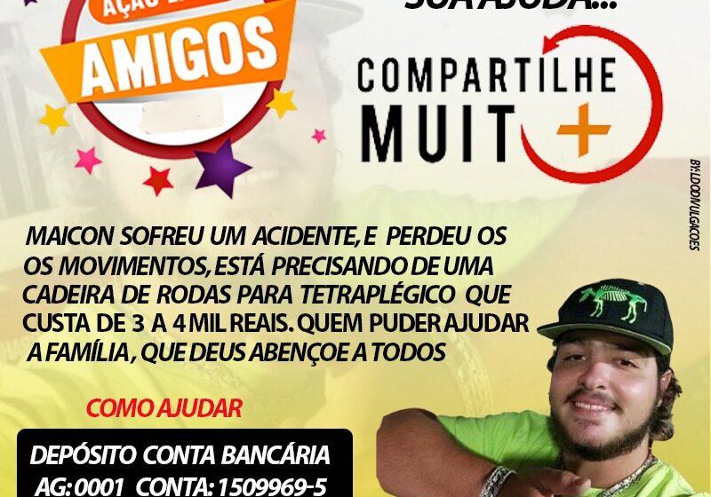 Campanha para ajudar jovem que sofreu acidente em Novo Itacolomi