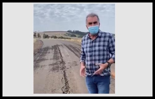 """Vídeo: Prefeito """"Galo"""" se revolta com vandalismo causado na estrada do """"Faxinalzinho"""""""