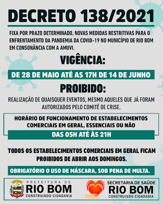 Prefeitura de Rio Bom divulga decreto de enfrentamento ao Covid-19
