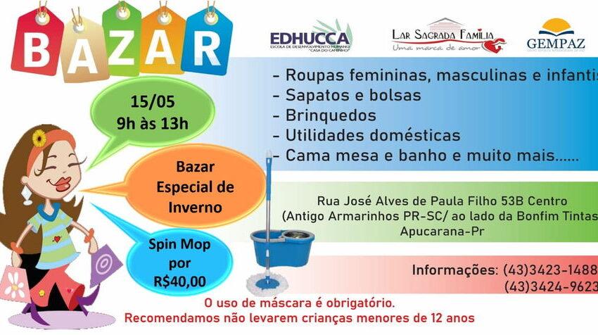 """Neste sábado tem bazar beneficente da """"Edhucca, Lar e GemPaz"""" em Apucarana"""
