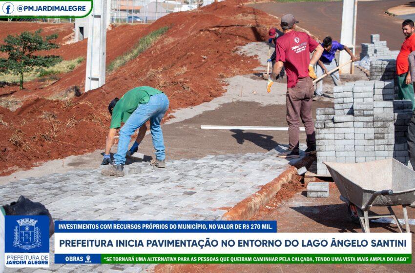 Jardim Alegre inicia pavimentação da calçada no entorno do lago Ângelo Santini