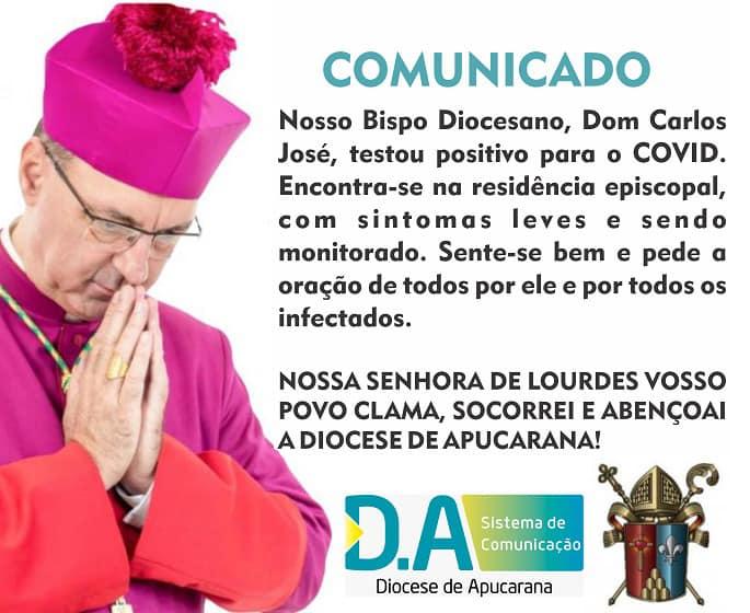 Bispo de Apucarana Dom Carlos testa positivo para Covid-19