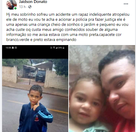 Jardim Alegre: Criança ficou ferida após atropelamento; Motociclista fugiu do local e família se revolta