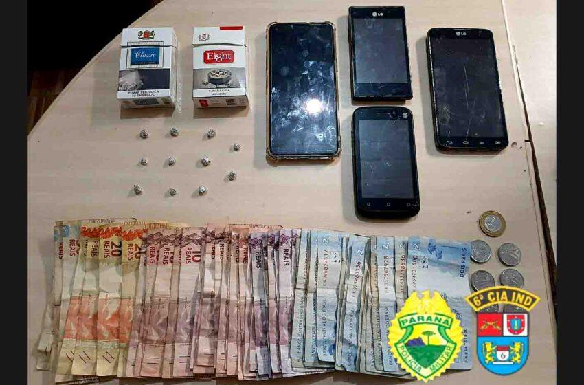 Jardim Alegre: Três foram detidos pela PM, acusados de tráfico de drogas