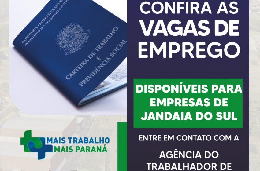 CONFIRA AS VAGAS DE EMPREGO EM JANDAIA DO SUL