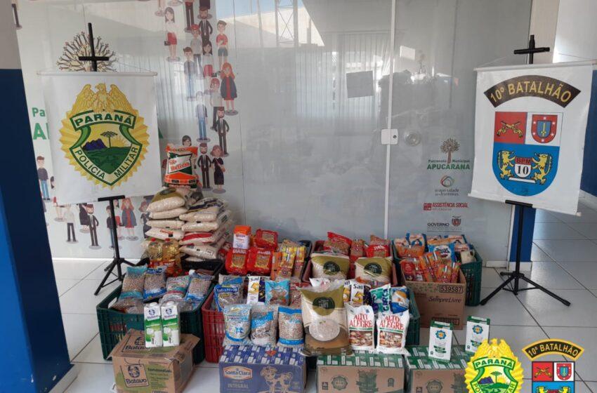 10º BATALHÃO DE POLÍCIA MILITAR ARRECADA MAIS DE 420 KG DE ALIMENTOS PARA A CAMPANHA VACINA SOLIDÁRIA