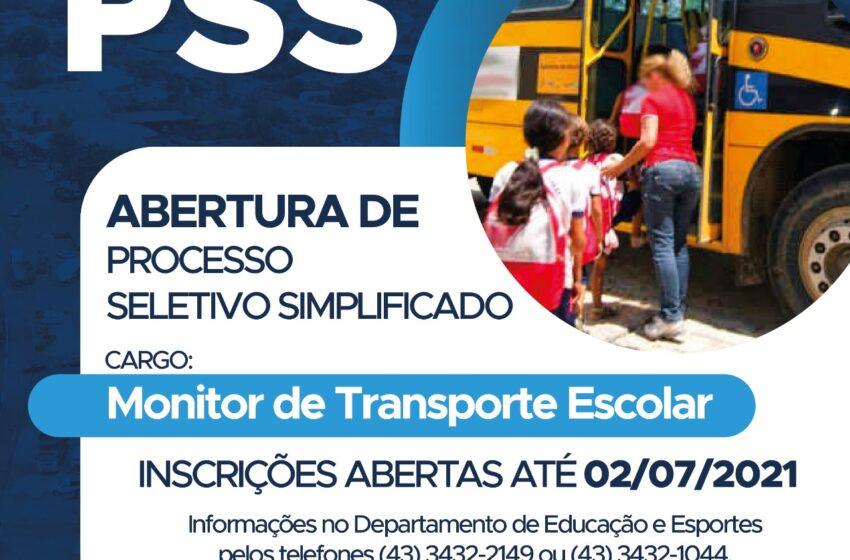 Prefeitura de Jandaia do Sul abre processo seletivo simplificado para monitores de transporte escolar