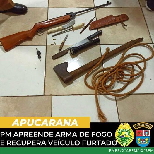 APUCARANA – PM apreende arma de fogo e recupera veículo furtado