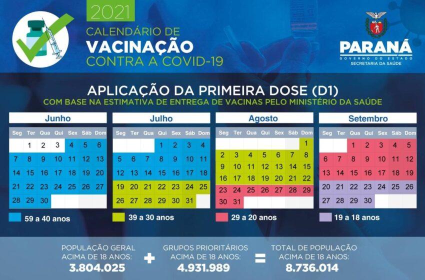 Paraná divulga calendário de vacinação contra a Covid-19 para população em geral