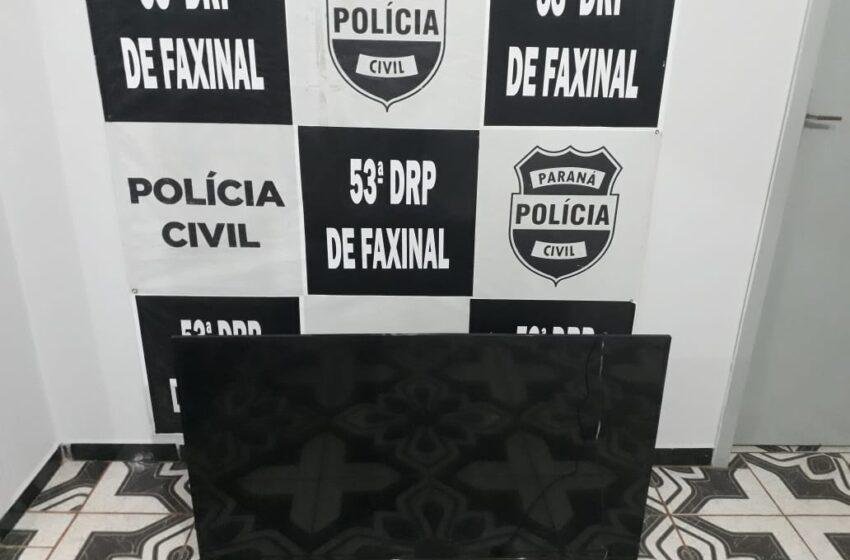 FAXINAL – Polícia Civil recupera TV furtada de residência