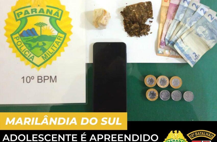 Adolescente é apreendido pela PM de Marilândia do Sul, por tráfico de drogas