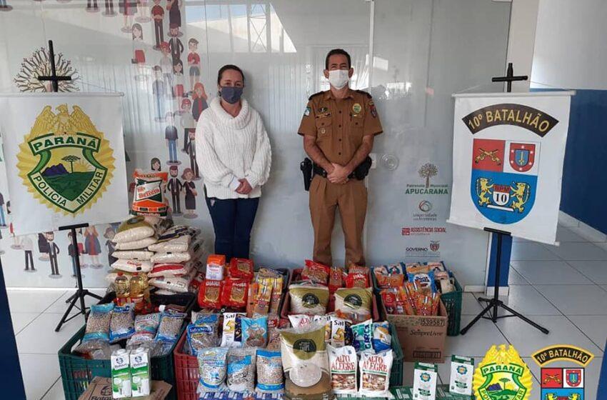 10º Batalhão da PM arrecada mais de 420kg de alimentos para a Campanha Vacina Solidária
