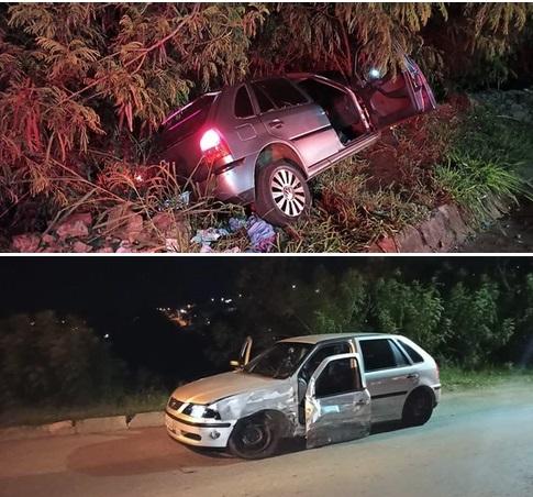 Dois veículos gol colidiram em rua de Faxinal