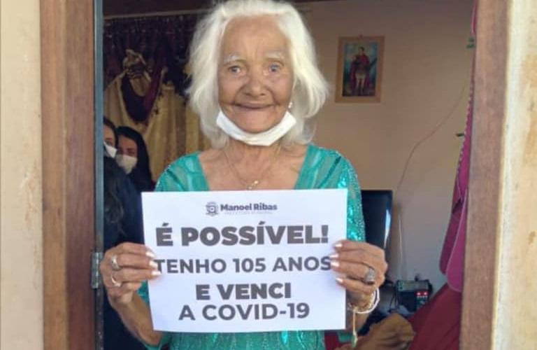 Idosa de 105 anos comemora, após vencer a Covid-19 em Manoel Ribas