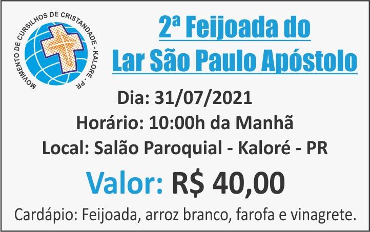 Feijoada do Lar São Paulo Apóstolo de Kaloré será no dia 31 de julho em Kaloré