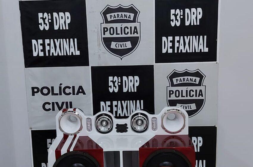PC de Faxinal apreende caixa de som após denúncia de barulho excessivo