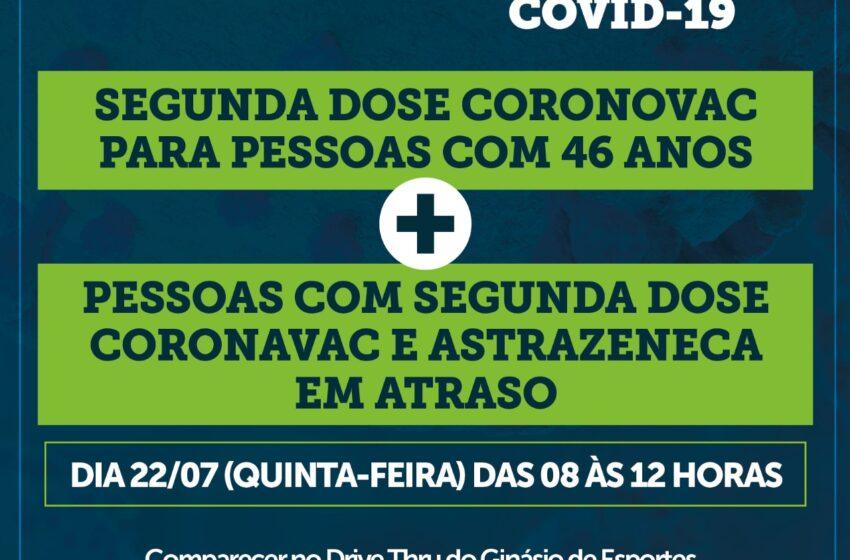 Moradores de Jandaia com 46 anos podem tomar a segunda dose da vacina contra a Covid a partir desta quinta