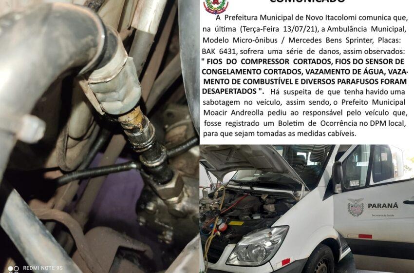 Ambulância de Novo Itacolomi é danificado em caso de sabotagem