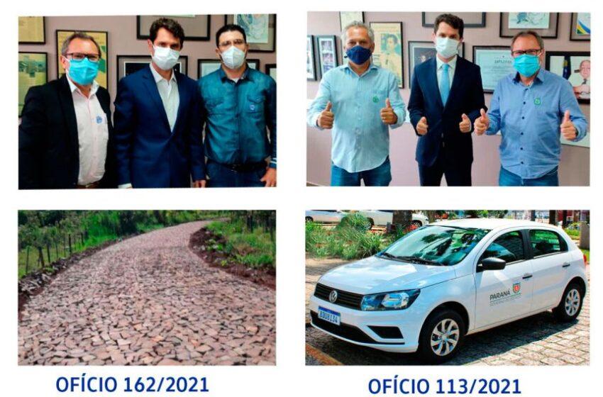 Deputado Alexandre Curi destina 3km de pedras poliédricas e um carro 0km para a saúde de Rio Bom