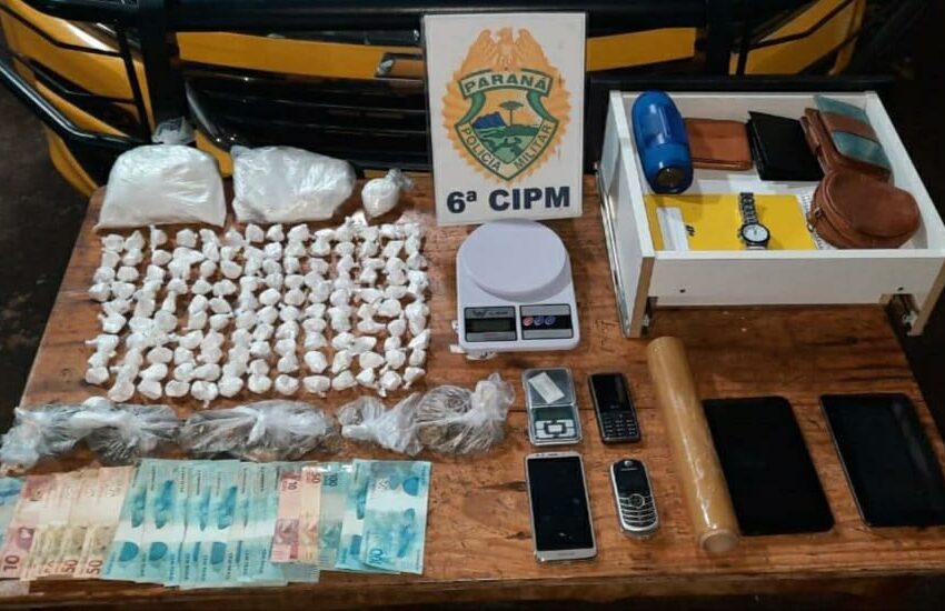PM prende duas pessoas e apreende 1,9 quilo de cocaína em Ivaiporã