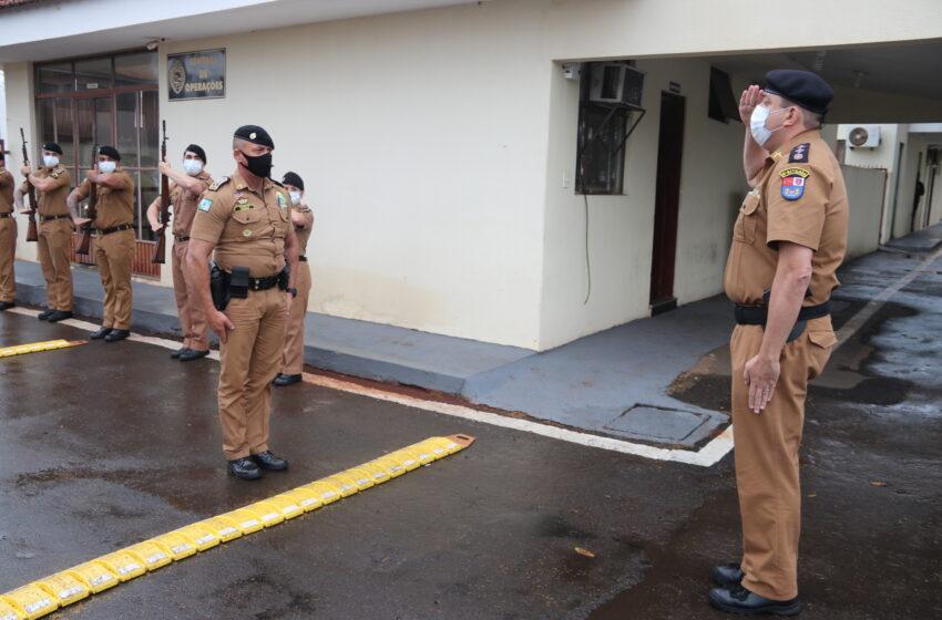 Em Arapongas, oficiais da PM fazem apresentação sobre a 7ª Companhia Independente para o Comandante-Geral