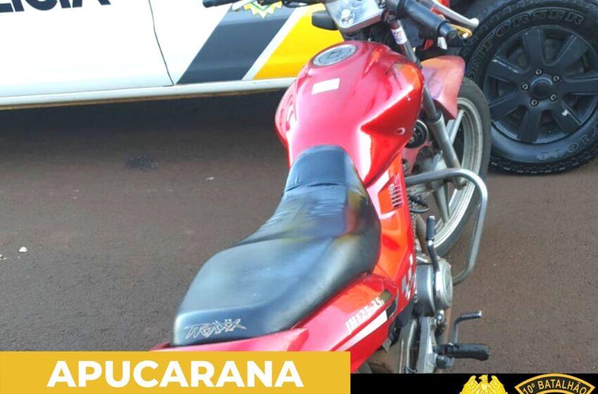 PM de Apucarana recupera motocicleta uma hora após o furto