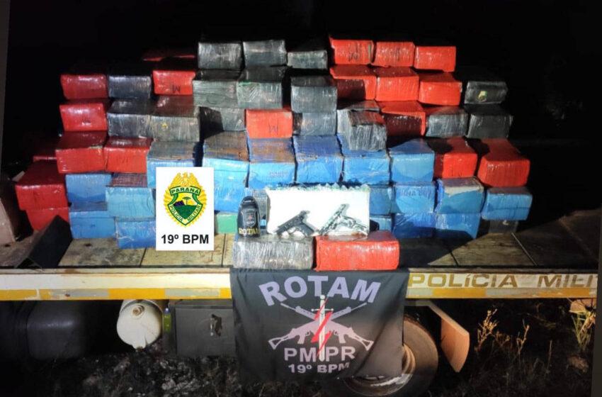 Policiais militares apreendem 2,7 toneladas de maconha em ronda extrajornada no Oeste