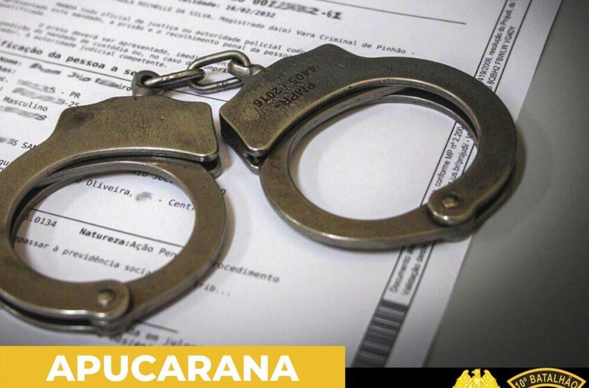Polícia Militar de Apucarana cumprem mandados de prisão