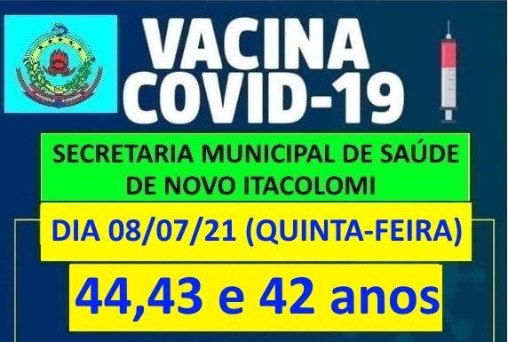 Novo Itacolomi vacina pessoas de 44, 43 e 42 anos nesta quinta-feira