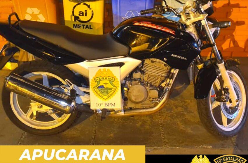 PM de Apucarana recupera motocicleta poucos minutos após furto