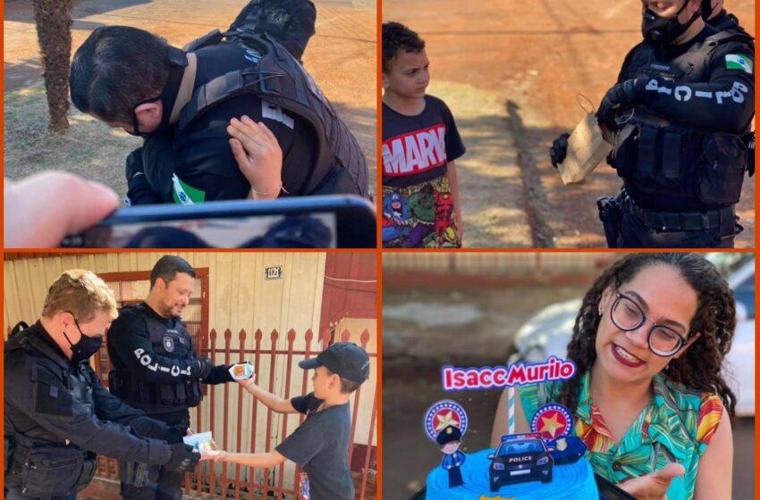 BORRAZÓPOLIS – Menino recebe visita surpresa de Delegado da Policia Civil em seu aniversário